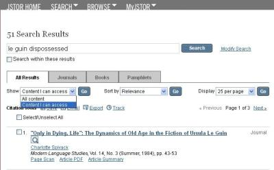 JSTOR search options